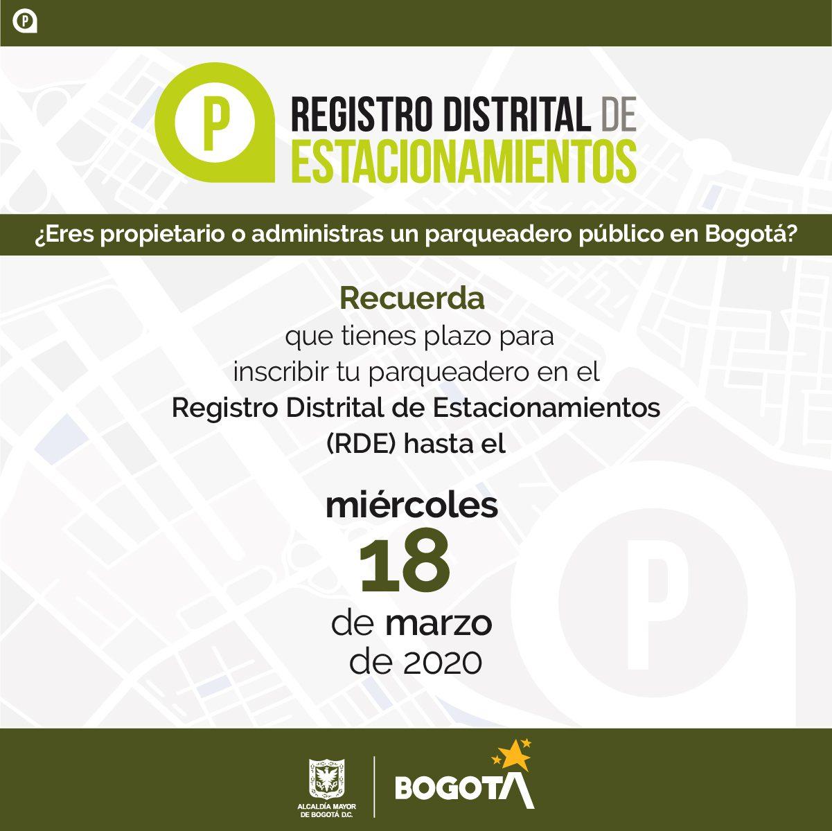 El 18 de marzo vence plazo para que los parqueaderos públicos de Bogotá se inscriban en el Registro Distrital de Estacionamientos (RDE)