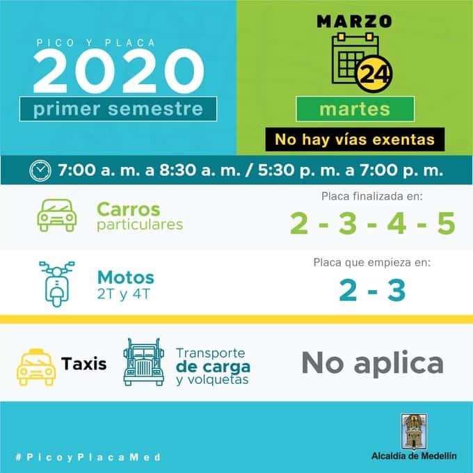 Pico y placa para este martes 24 de marzo en las principales ciudades de Colombia